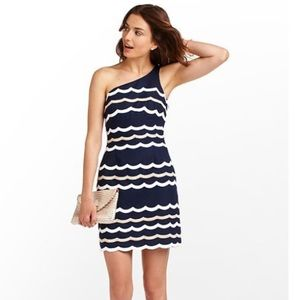 Lilly Pulitzer Tylar Navy Scallop 1 Shoulder Dress